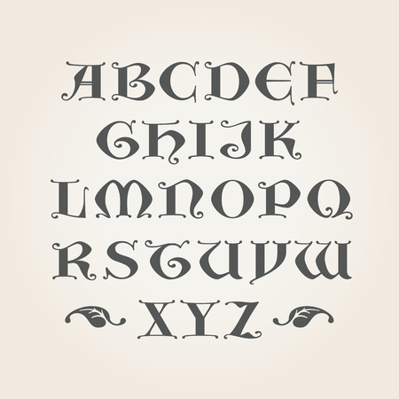 Gothic Initials. Capital latin A-Z letters. Decorative Alphabet
