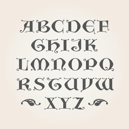 Iniciales gótico. Capitales letras AZ latino. Alfabeto decorativo Foto de archivo - 57235075