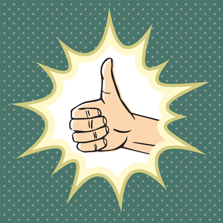 well loved: Thumbs up gesture (like symbol). Hand sign with pop explosion