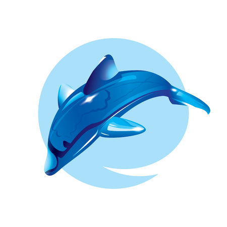 Crystal dolphin jump. Vector illustration