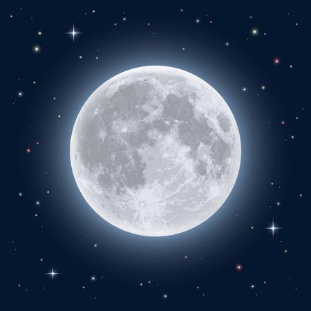 現実的な満月。詳細なイラスト。  イラスト・ベクター素材