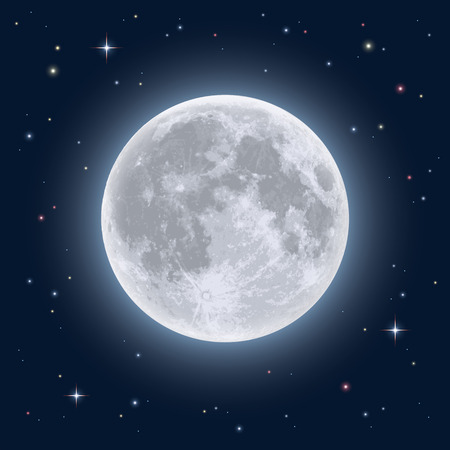 Realistic full moon. Detailed illustration.