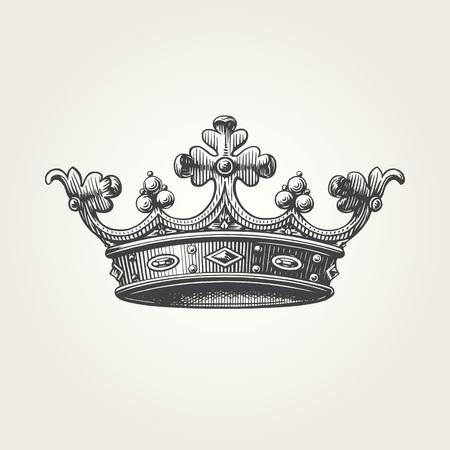 Hand drawn crown. Vintage engraved illustration