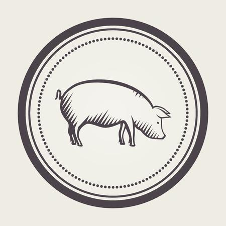 Sello con el símbolo de cerdo Foto de archivo - 61108483