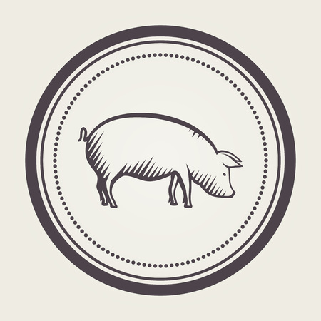 farmyard: Stamp with pig symbol Illustration