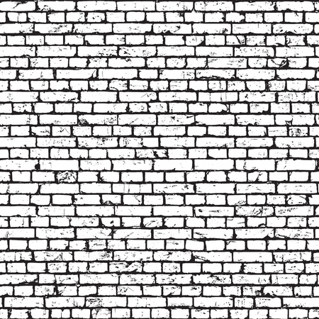 White brick wall texture, grunge background. seamless pattern. Illustration