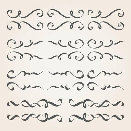 Calligraphic elements and page decoration. Vintage dividers, borders, frames 免版税图像 - 59925683