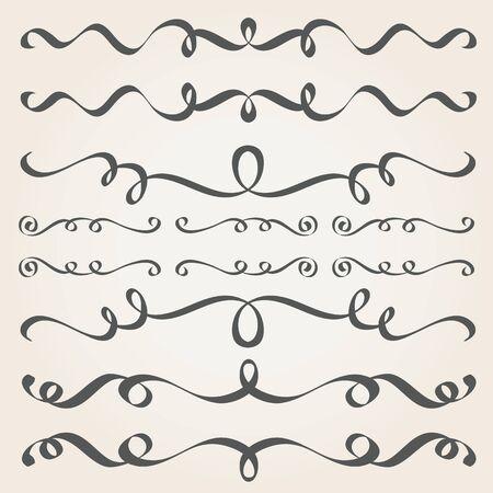 Elementos caligráficos y decoración de página. Separadores Vintage, bordes, marcos Foto de archivo - 59925685