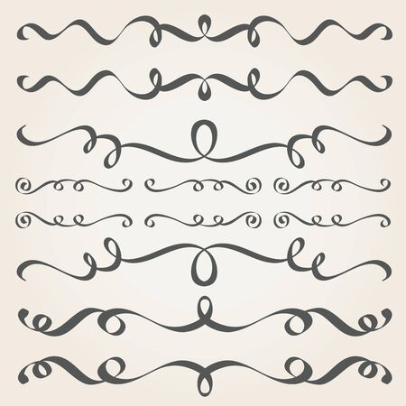 Calligraphic elements and page decoration. Vintage dividers, borders, frames