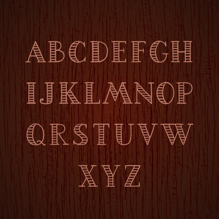headings: Hand drawn striped font. Capital A-Z letters. Decorative vector alphabet on wood texture Illustration