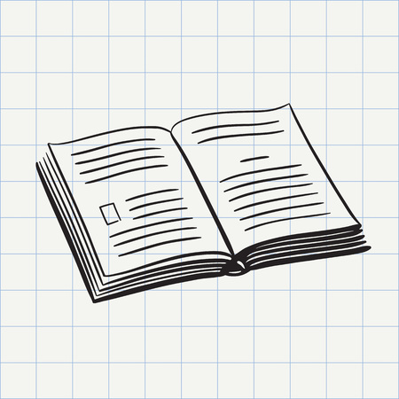 Book doodle icon. Hand drawn sketch in vector