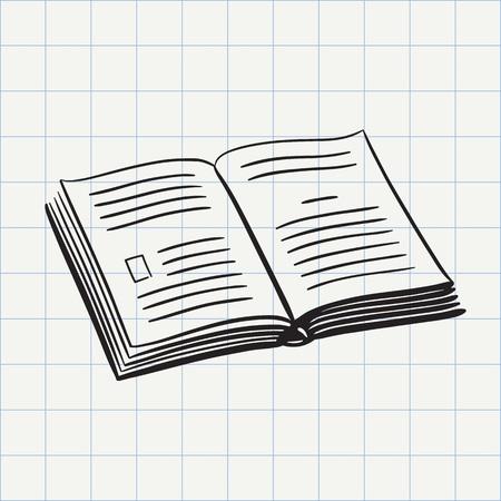 Book doodle icon. Hand drawn sketch in vector