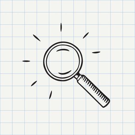 Lupa del icono del doodle de vidrio. símbolo de búsqueda. croquis dibujado a mano en el vector Foto de archivo - 65881476
