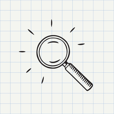 magnifying: Magnifying glass doodle icon. Search symbol. Hand drawn sketch in vector