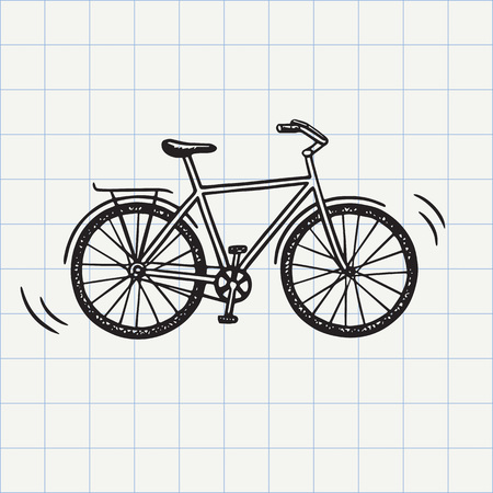 Bike doodle icon. Hand drawn sketch in vector