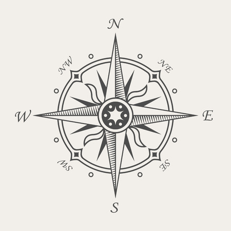 Wind rose or compass symbol. Vintage nautical sign 向量圖像