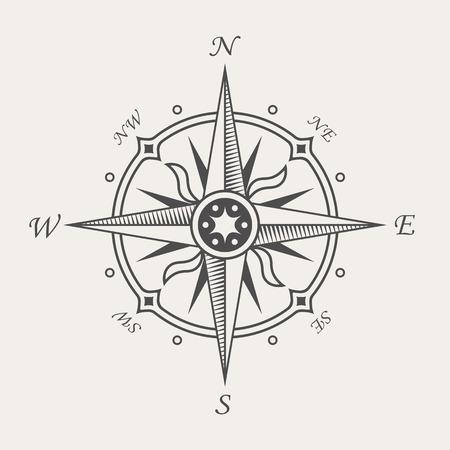 compass rose: Wind rose or compass symbol. Vintage nautical sign Illustration