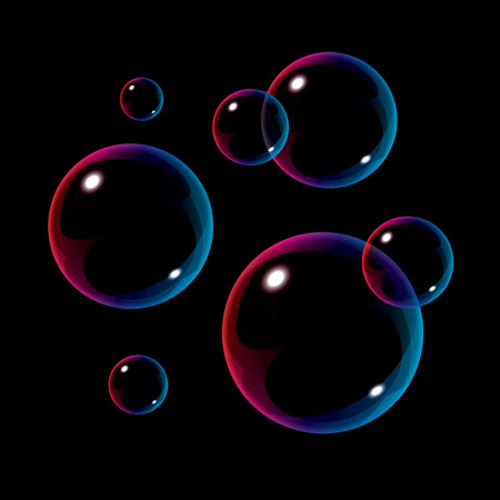 Colorful bubbles on black background. Realistic vector illustration Ilustracja