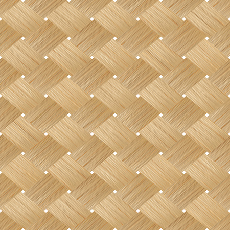rattan mat: Bamboo wood texture. Wicker background. Vector seamless pattern