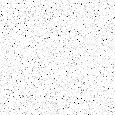 Ink splatter seamless pattern. Grainy surface distress vector texture. Black paint spray blobs on white background Illustration