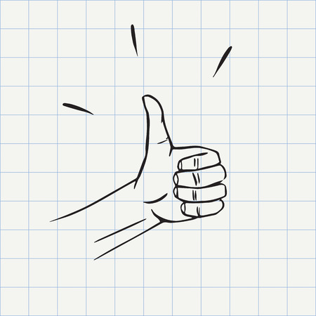 Pulgares arriba gesto (como símbolo) icono del doodle. croquis dibujado a mano en el vector Foto de archivo - 67651051