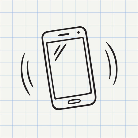 Smart phone doodle icon. Hand drawn sketch in vector