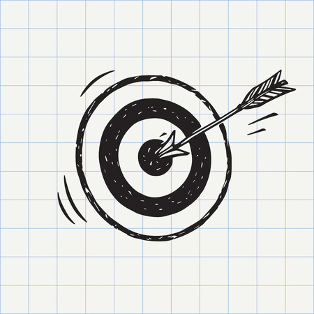 Arrow hit in archery target (goal symbol) icon sketch in vector. Accuracy concept. Hand drawn doodle sign