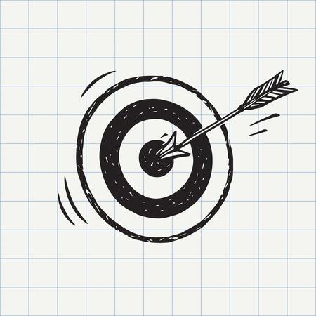 Flecha golpeó en blanco con arco (símbolo objetivo) icono de boceto en el vector. concepto de precisión. Muestra de la mano del doodle Foto de archivo - 73043872