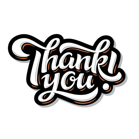 Thank You lettering. Hand drawn vector calligraphy Ilustração