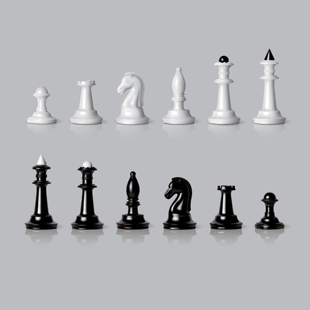 Black and white chess pieces set in vector Illustration