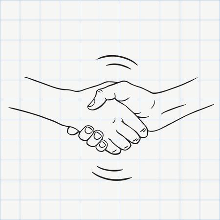 Handshake outline doodle icon. Hand drawn sketch in vector