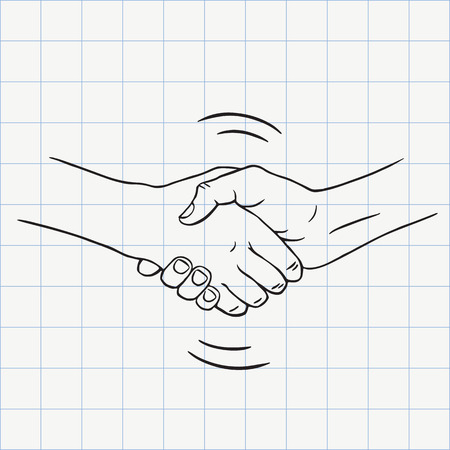 Handshake outline doodle icon. Hand drawn sketch in vector