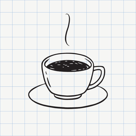 Tea or coffee cup doodle icon. Hand drawn line sketch in vector
