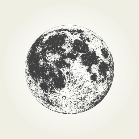 Realistic full Moon. Detailed monochrome vector illustration