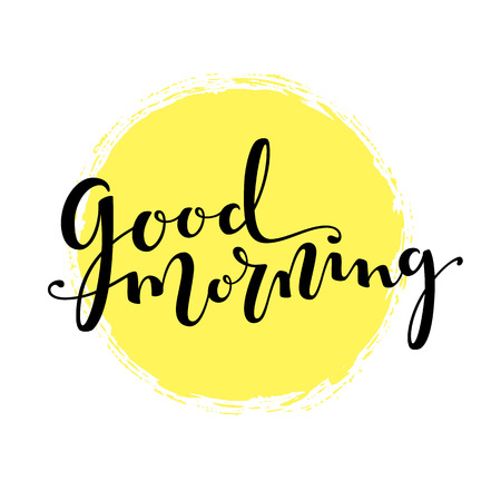 Good Morning lettering vector text 免版税图像 - 120980705