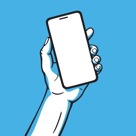 Hand holds mobile phone. Vector illustration