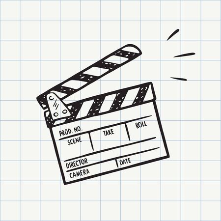Movie clapperboard doodle icon. Film set clapper for cinema production. Board clap for video clip scene start. Lights, camera, action! Hand drawn sketch in vector