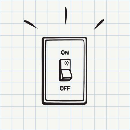 Icona di doodle dell'interruttore della luce. Schizzo disegnato a mano in vettoriale Vettoriali
