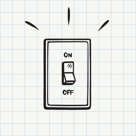Light switch doodle icon. Hand drawn sketch in vector