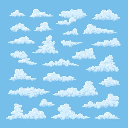 Set of simple cartoon clouds on blue sky background. Vector illustration