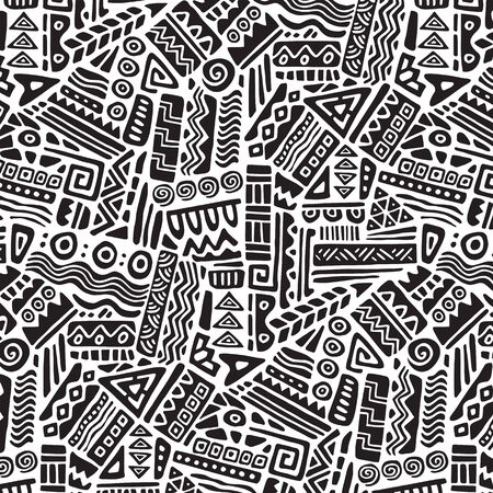 Seamless ethnic geometric ornament pattern. Hand drawn tribal design vector background. Ethnic style patchwork print