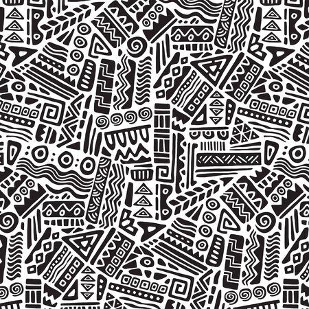 Seamless ethnic geometric ornament pattern. Hand drawn tribal design vector background. Ethnic style patchwork print 免版税图像 - 136595083