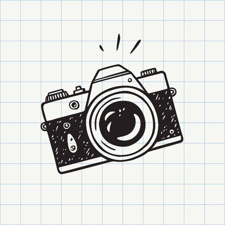 Photo camera doodle icon. Hand drawn sketch in vector 免版税图像 - 131568864