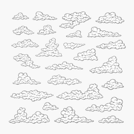 Hand drawn clouds set. Black and white line drawing sky. Vintage vector illustration