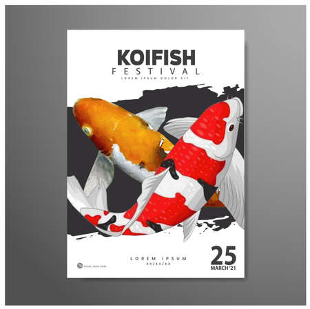 Poster design. Festival of koi fish, with colorful fish background, with photorealistic vector image