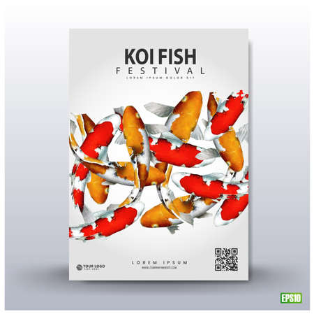 Poster design. Koi fish festival, with a colorful fish background.