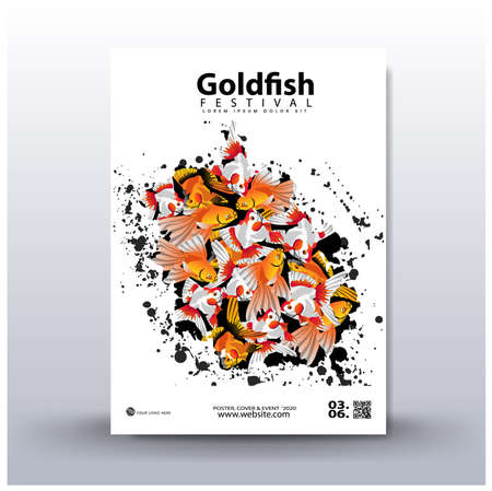 Poster design. Festival of goldfish, with colorful fish background, with photorealistic vector image