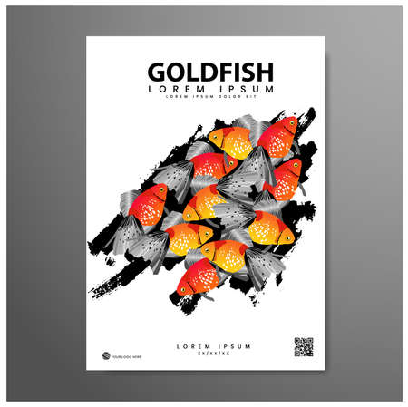 Poster design. Festival of goldfish, with colorful fish background, with photorealistic vector image. illustration eps 10