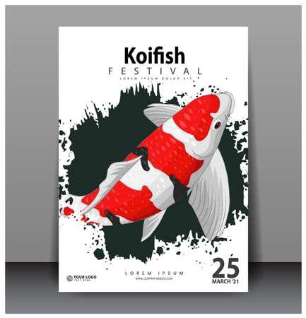 Poster design. koi fish, photorealistic vector image. illustration eps 10
