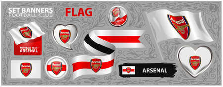 Arsenal flag concept. Set of Banners. Greeting card, Banner, Flyer design
